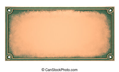 Brass Plaque. Isolated on white backround.