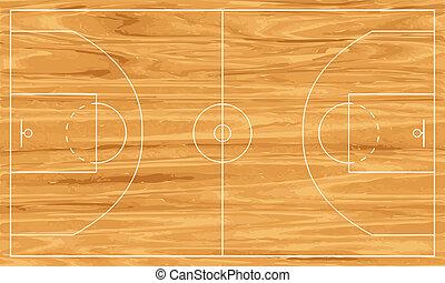 wooden basketball court - Wooden basketball court. Vector...