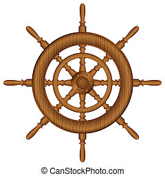 wooden helm wheel - Helm wheel on white background. Vector...