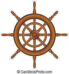 de madera, Timón, rueda