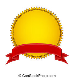 Gold Seal Stamper with Red ribbon. Isolated on white...
