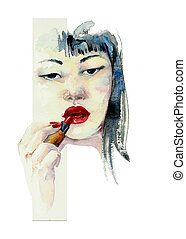 asian girl with lipstick