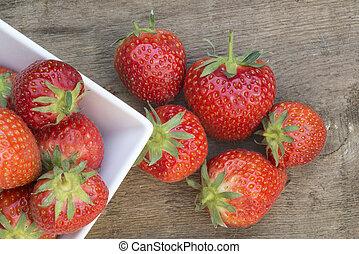 Macro shot of fresh Summer strawberries - Fresh picked...