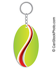 Green keyholder with red and white stripe
