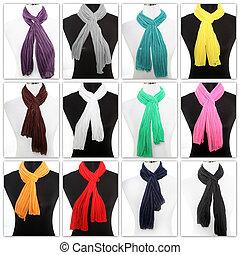 colorido, exhibición, bufandas