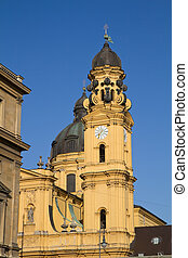 "The famous ""Theatinerkirche"" church in Munich, Germany"