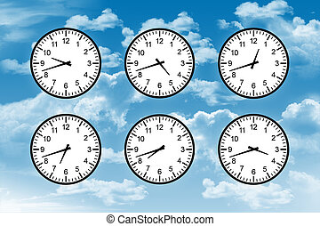 time around the globe - six clocks with different time on...