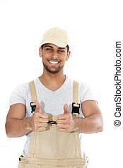 Handsome handyman giving a thumbs up
