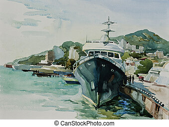 watercolor yacht in port Yalta - Big ship in a civil port...