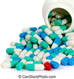 pills antibiotic - red and green, blue pills antibiotic...