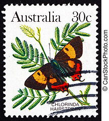 Postage stamp Australia 1983 Chlorinda Hairstreak, Butterfly...