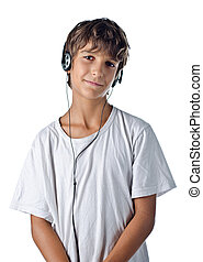 child listening to music with headphones isolated
