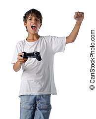 happy child with joystick playing videogames isolated on...