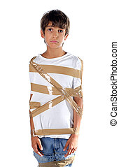 sad child wrapped in self adhesive duct tape isolated on...