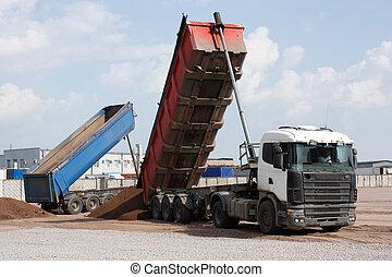 multi-ton, entulho, caminhão