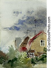 after rain countryside wet watercolor painting original...