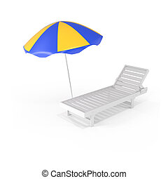 Summer Background Chair and Umbrella - 3d illustration