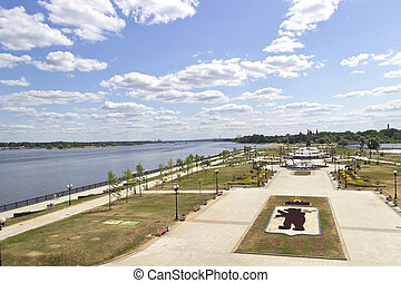 Park on spit Yaroslavl Russia - Top view of the square in...