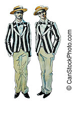 retro twins brothers - original watercolor retro twins...
