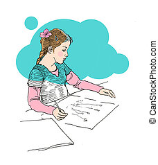 Small girl drawing on paper lineart drawing concept