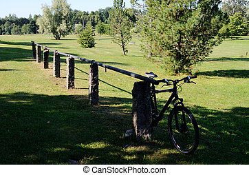 rural landscape with a bicycle parked