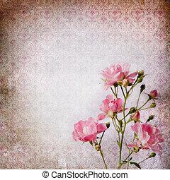 Vintage grunge background with rose