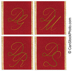 Collection of textile monograms design on a ribbon. DG, DM,...