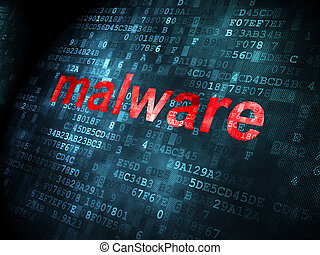 Protection concept: Malware on digital background -...
