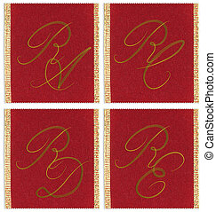 Collection of textile monograms design on a ribbon. RA, RC,...