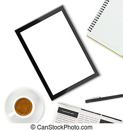 Tablet computer, coffee cup and other office supplies on...