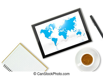 Tablet computer with world map, notebook and a cup of coffee...