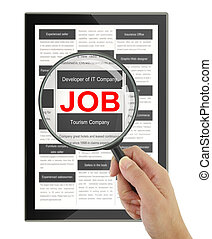 Searching for a job with a magnifying glass in a digital...