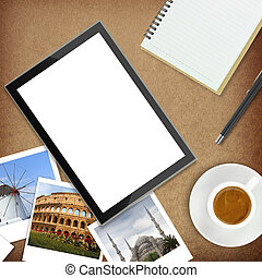 Tablet computer and photos of famous places