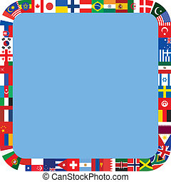 square frame made of flag icons - blue rounded square frame...