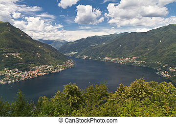 Lake Como, Italy, from above with the village Moltrasio