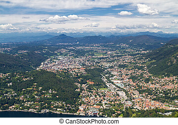 Lake Como, Italy, with view to the town Cernobbio and the swiss alps