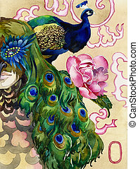king of peacocks watercolor