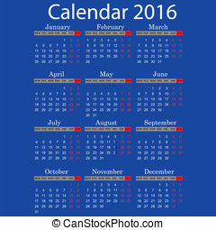 Calendar for 2016 year - Calendar, Event, Personal...