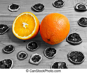 oranges fruit on a wooden table