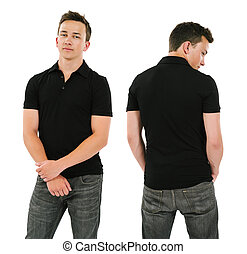 Young man with blank black polo shirt