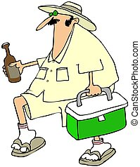 Man with a beer cooler - This illustration depicts a man in...