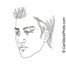 line art young man portrait ink drawing on white