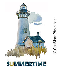 watercolor Summer lighthouse - White lighthouse with a small...