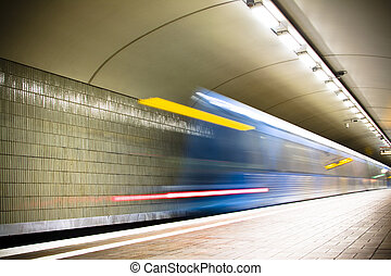 subway - fast train passing by motion blur