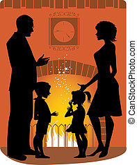 Family by the fireplace - Silhouettes of a family standing...