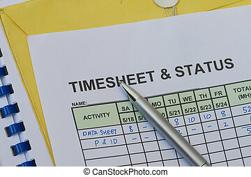 Weekly timesheet, with pen Timekeeping record and payroll
