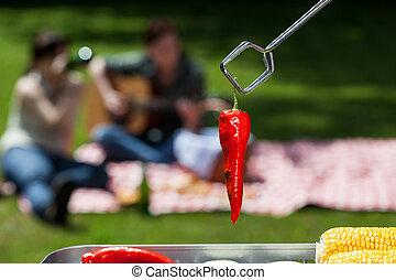 Chilli pepper - A closeup of a red grilled chilli pepper