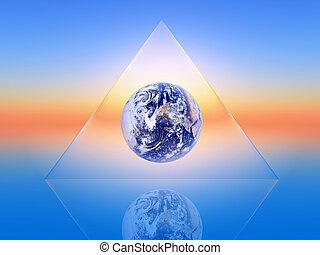 triangular - the planet earth inside a triangular shape