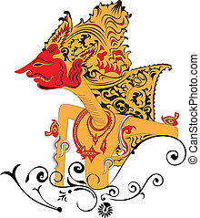 Puppet. - Wayang kulit, Asian famous shadow puppet.