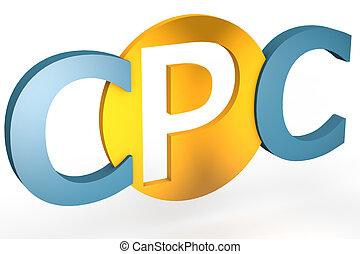 Cost per Click - acronym concept: CPC for Cost per Click...